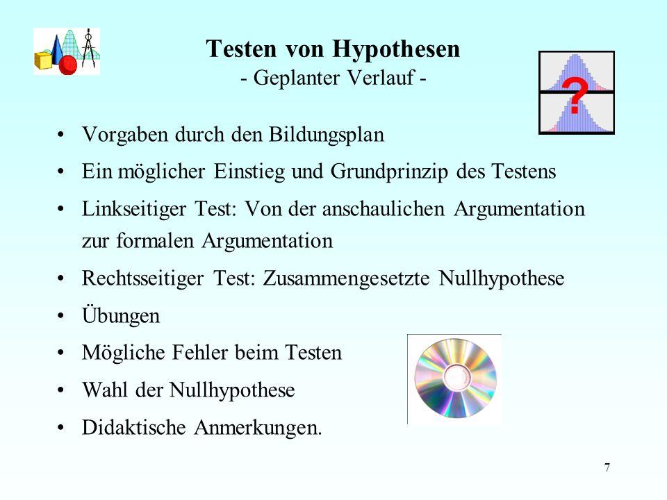 Testen von Hypothesen - Geplanter Verlauf -
