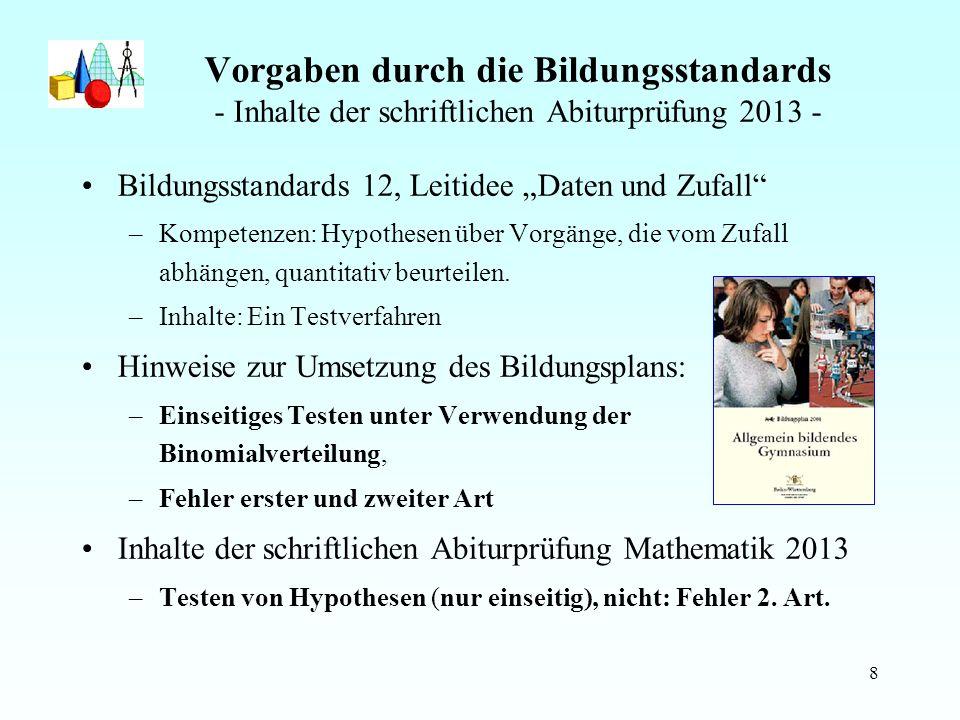 Vorgaben durch die Bildungsstandards - Inhalte der schriftlichen Abiturprüfung 2013 -