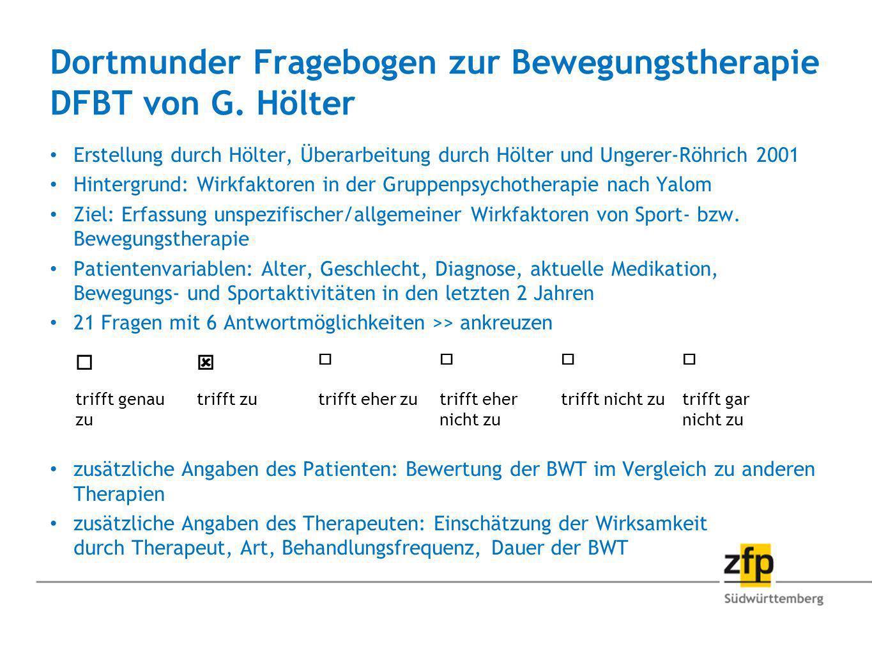 Dortmunder Fragebogen zur Bewegungstherapie DFBT von G. Hölter