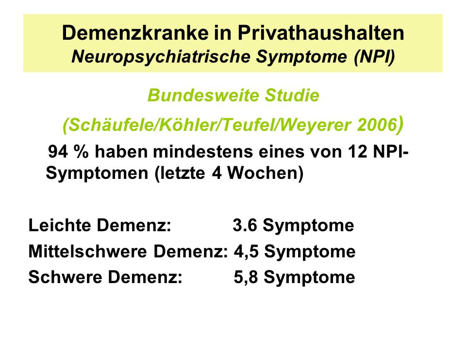 Demenzkranke in Privathaushalten Neuropsychiatrische Symptome (NPI)