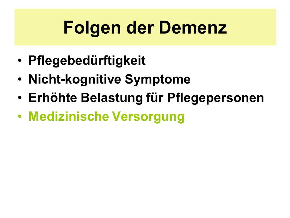 Folgen der Demenz Pflegebedürftigkeit Nicht-kognitive Symptome