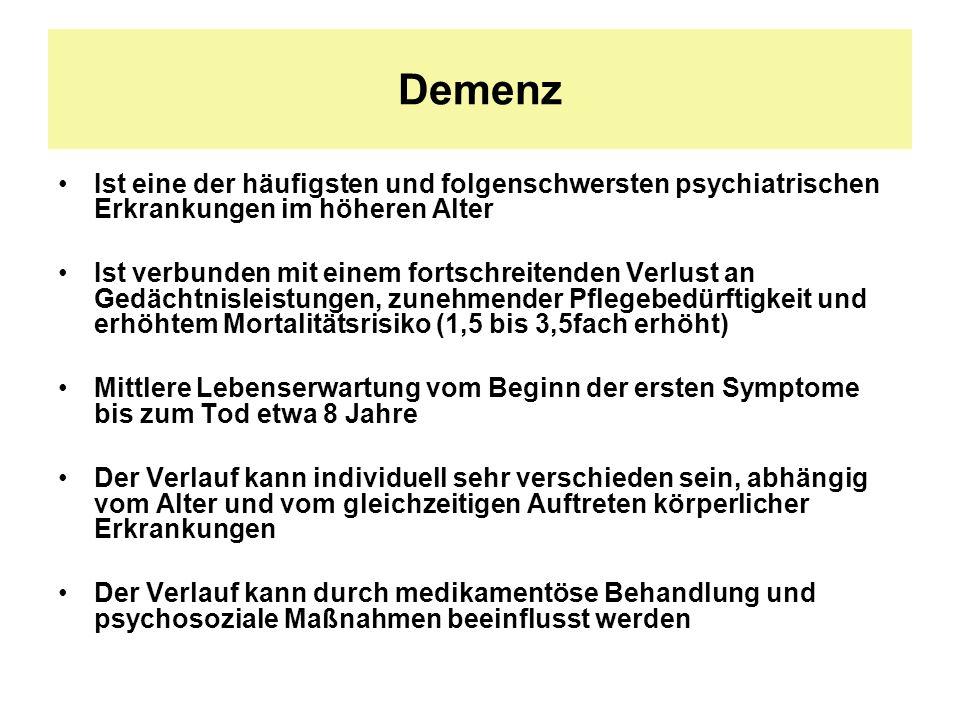 Demenz Ist eine der häufigsten und folgenschwersten psychiatrischen Erkrankungen im höheren Alter.