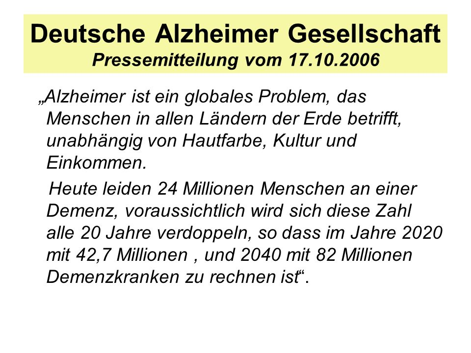 Deutsche Alzheimer Gesellschaft Pressemitteilung vom 17.10.2006