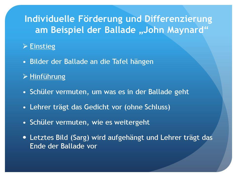 """Individuelle Förderung und Differenzierung am Beispiel der Ballade """"John Maynard"""