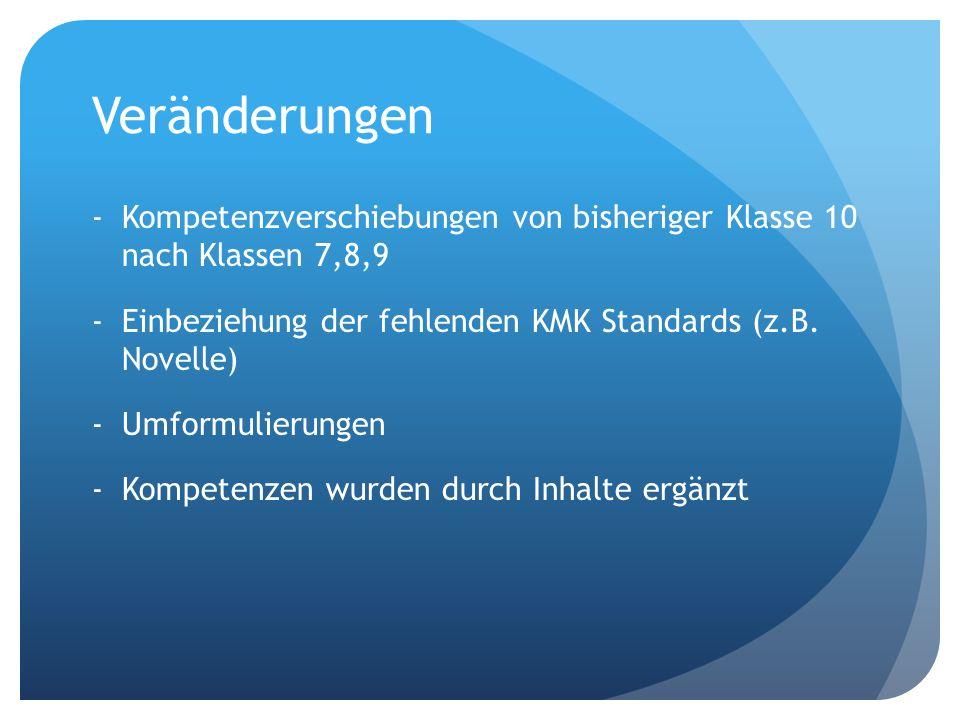 Veränderungen - Kompetenzverschiebungen von bisheriger Klasse 10 nach Klassen 7,8,9. Einbeziehung der fehlenden KMK Standards (z.B. Novelle)