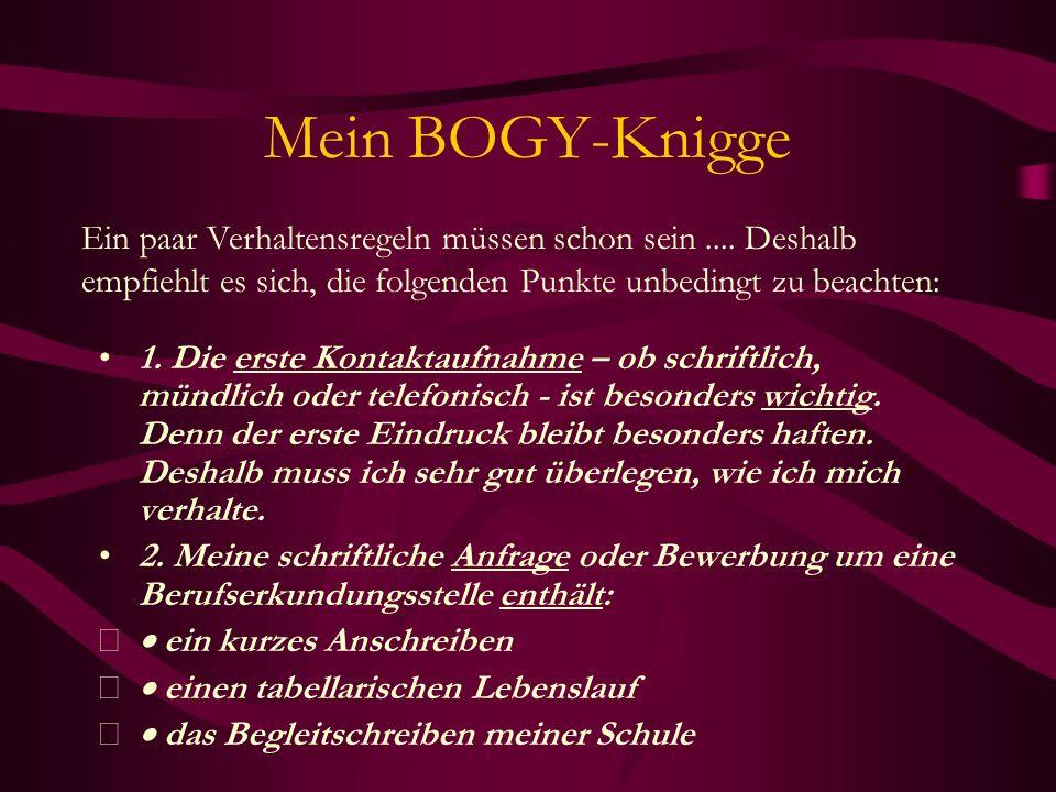 Mein BOGY-KniggeEin paar Verhaltensregeln müssen schon sein .... Deshalb empfiehlt es sich, die folgenden Punkte unbedingt zu beachten: