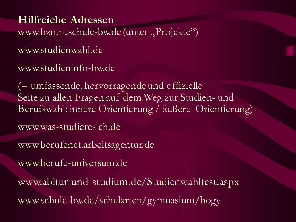 "Hilfreiche Adressen www.bzn.rt.schule-bw.de (unter ""Projekte )"