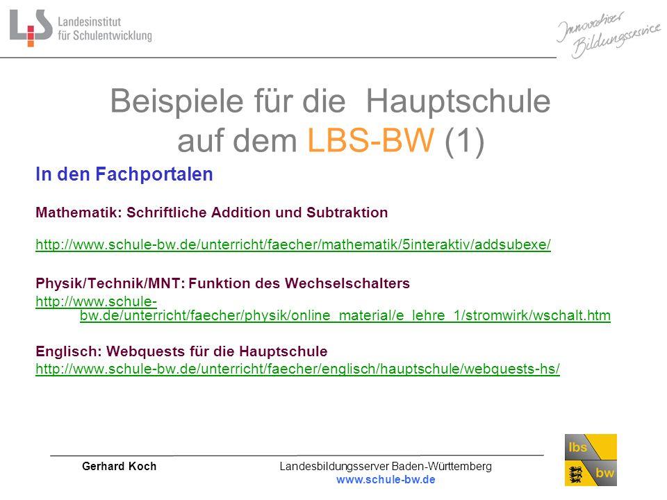 Beispiele für die Hauptschule auf dem LBS-BW (1)