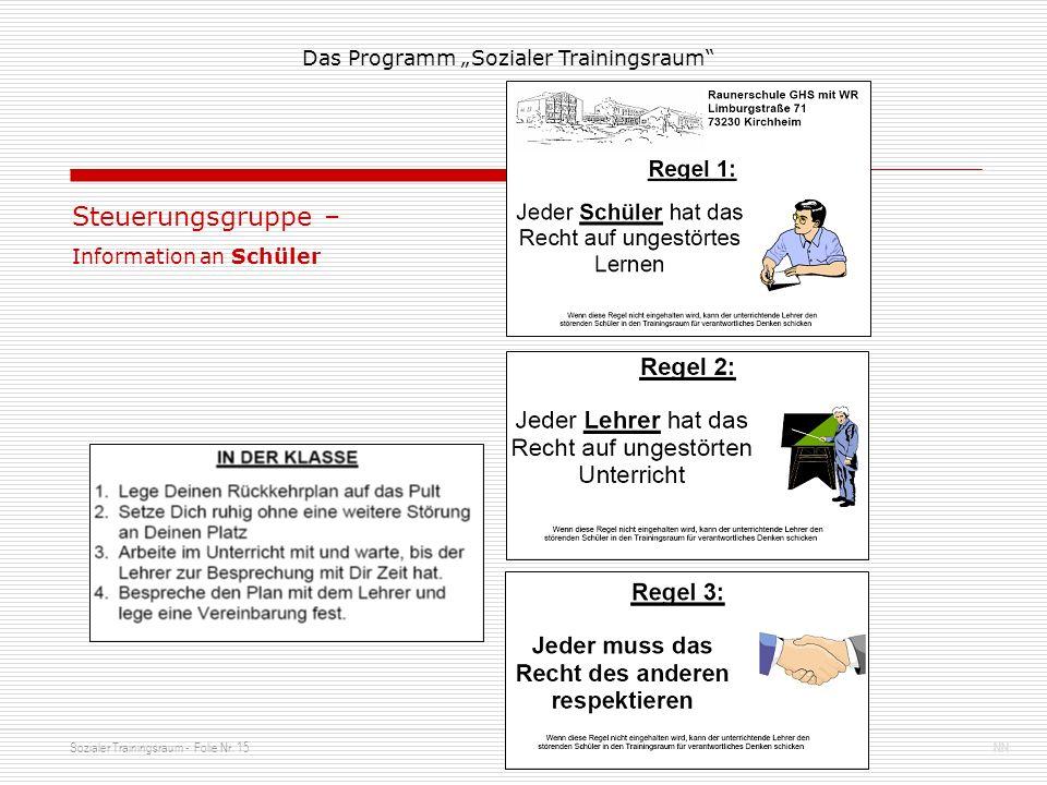 Steuerungsgruppe – Information an Schüler
