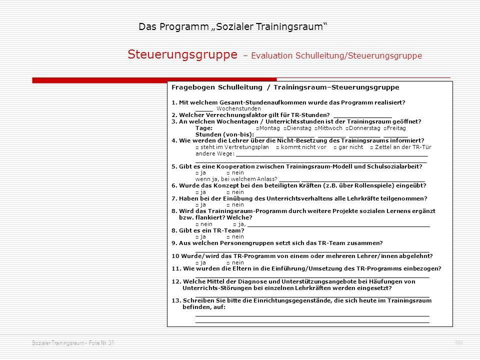 Steuerungsgruppe – Evaluation Schulleitung/Steuerungsgruppe