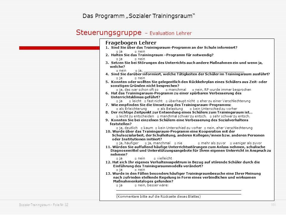 Steuerungsgruppe – Evaluation Lehrer