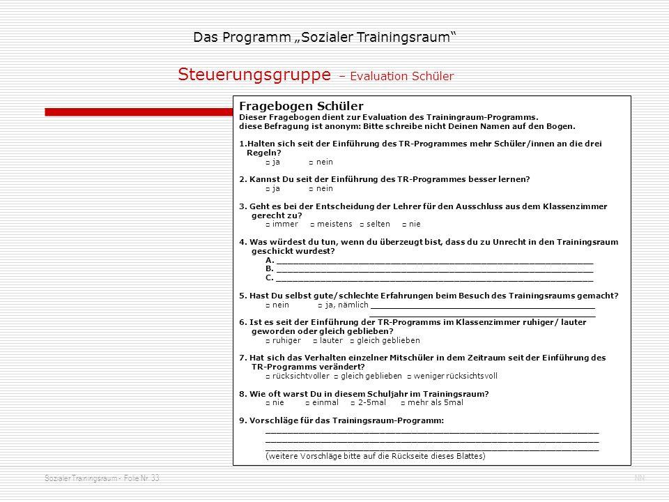 Steuerungsgruppe – Evaluation Schüler