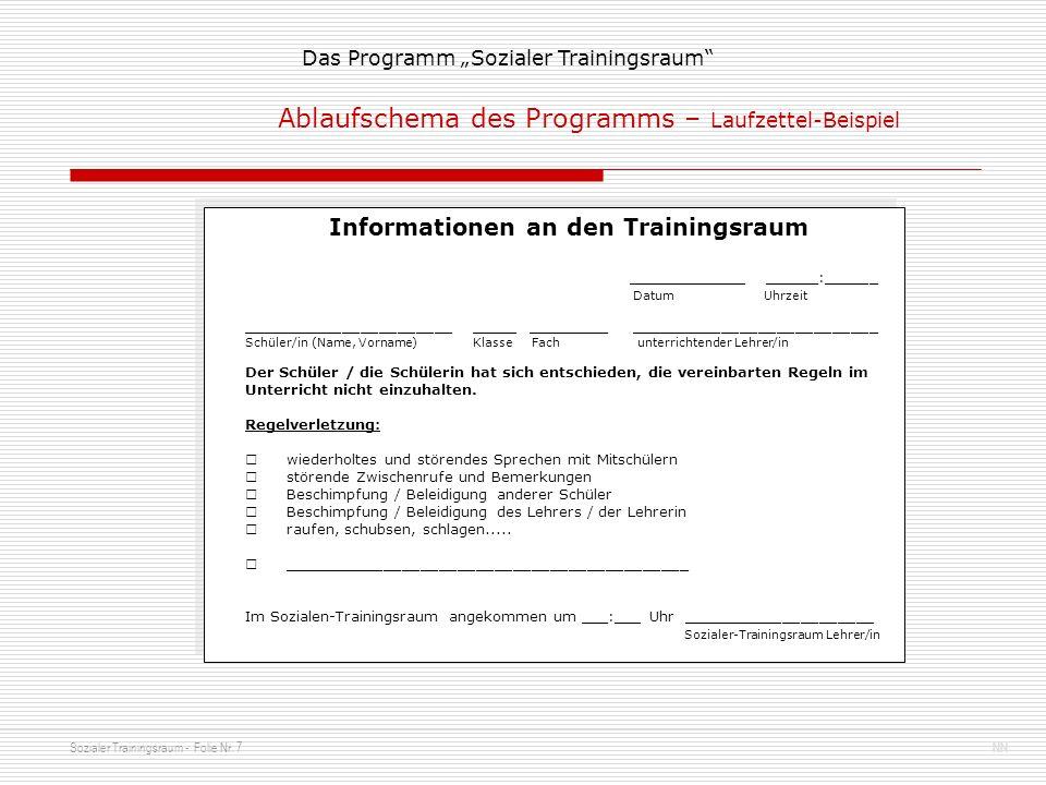 Informationen an den Trainingsraum