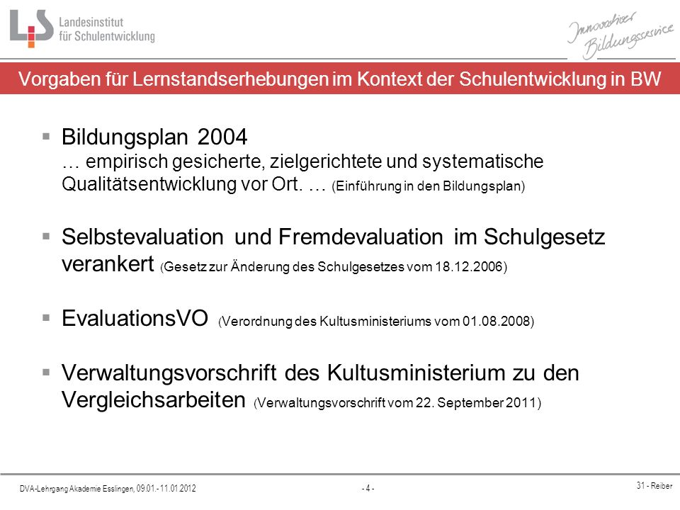 EvaluationsVO (Verordnung des Kultusministeriums vom 01.08.2008)