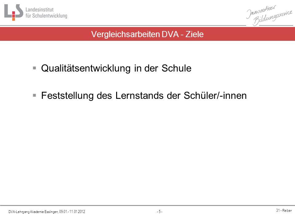 Vergleichsarbeiten DVA - Ziele