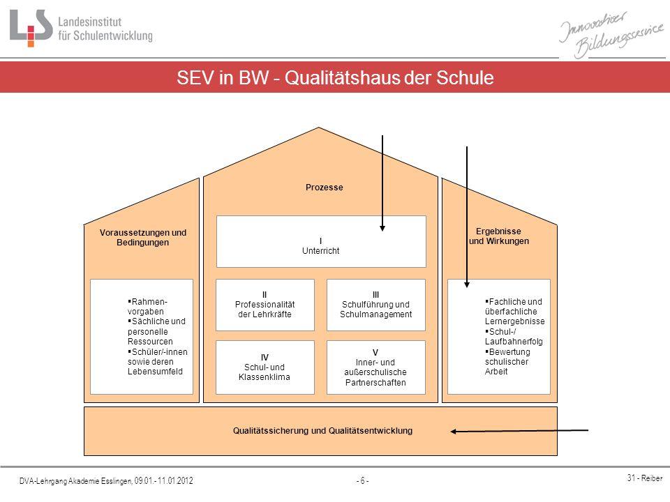 SEV in BW - Qualitätshaus der Schule
