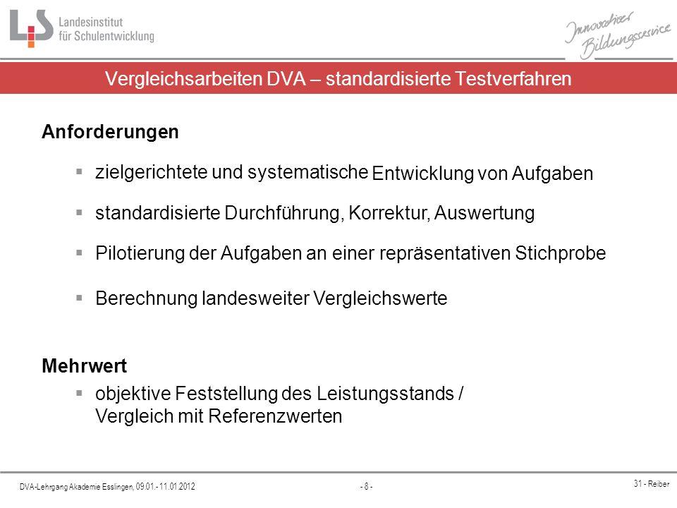 Vergleichsarbeiten DVA – standardisierte Testverfahren