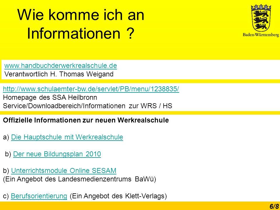 Wie komme ich an Informationen www.handbuchderwerkrealschule.de