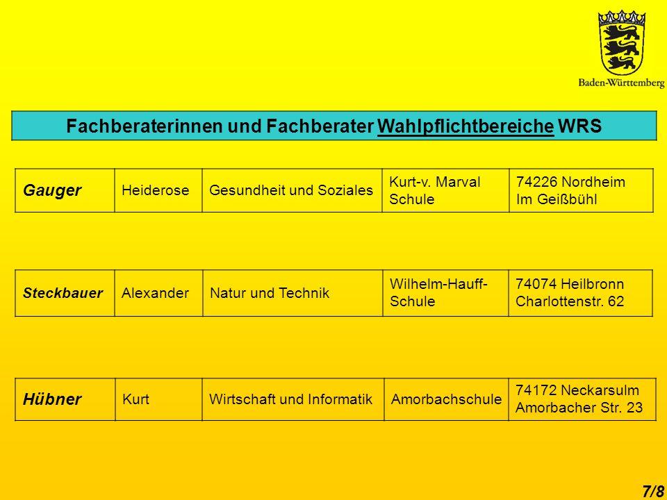 Fachberaterinnen und Fachberater Wahlpflichtbereiche WRS