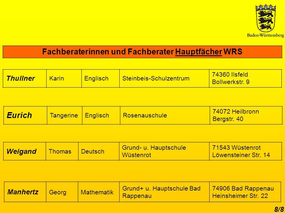 Fachberaterinnen und Fachberater Hauptfächer WRS