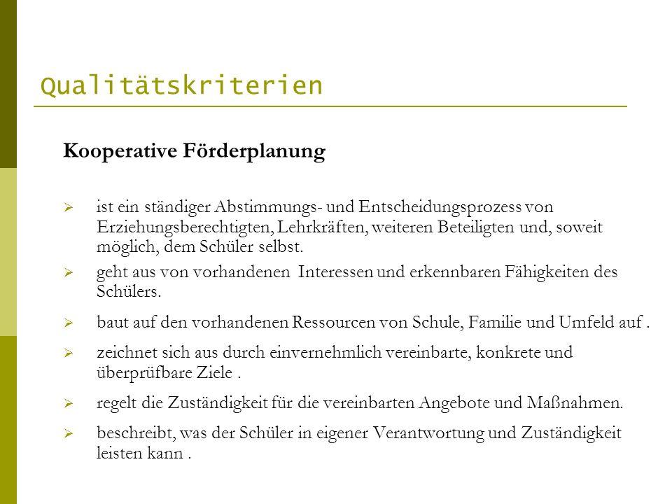 Qualitätskriterien Kooperative Förderplanung
