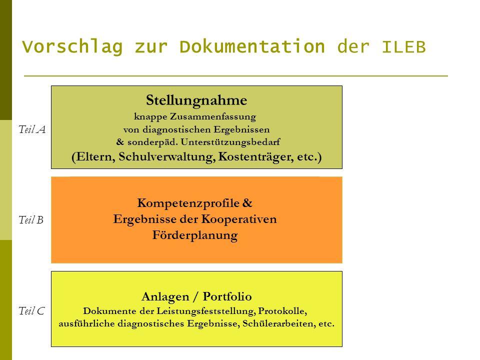 Vorschlag zur Dokumentation der ILEB