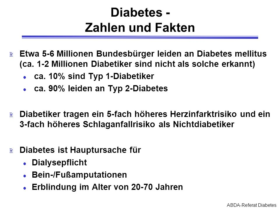 Diabetes - Zahlen und Fakten