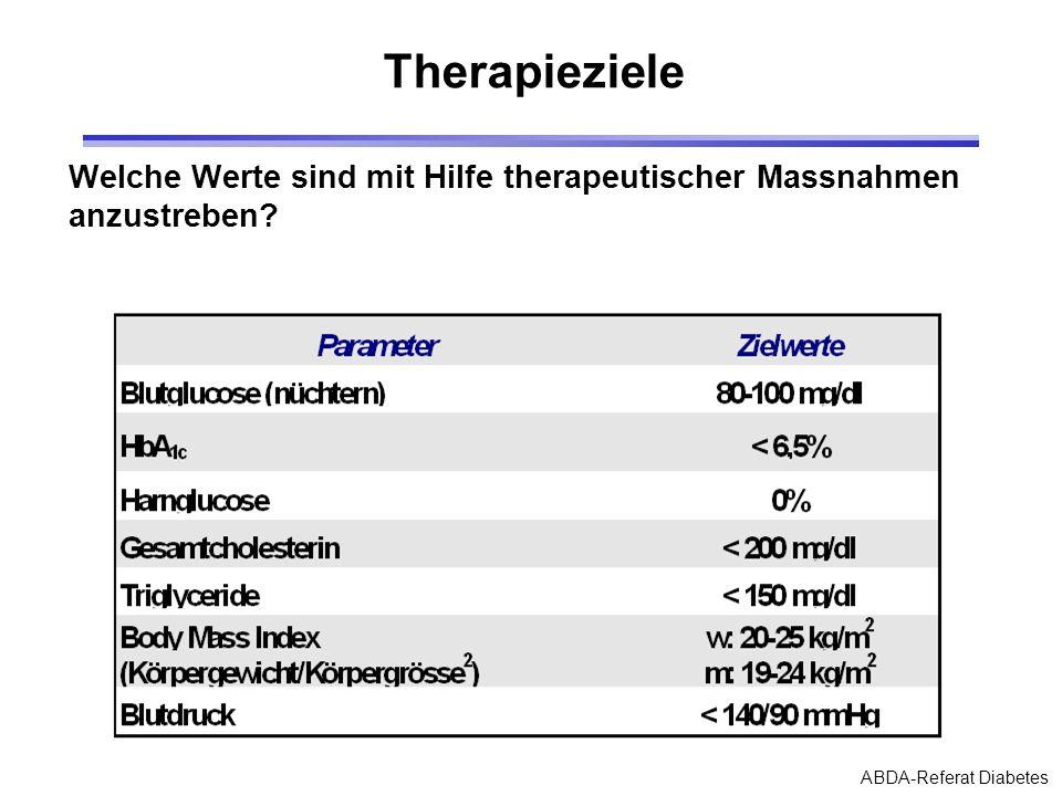Therapieziele Welche Werte sind mit Hilfe therapeutischer Massnahmen anzustreben.