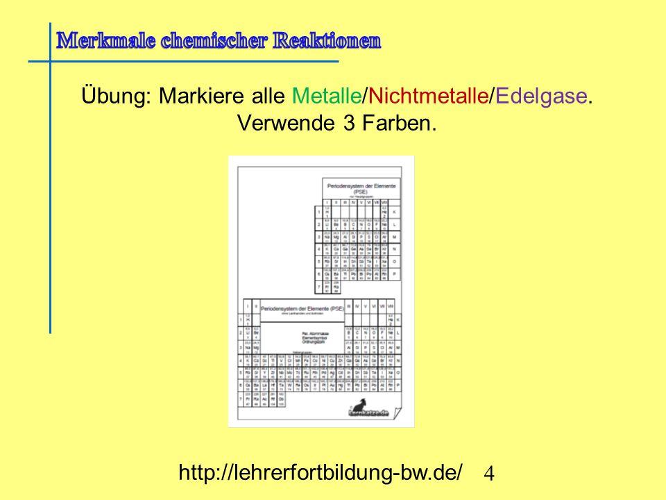 Übung: Markiere alle Metalle/Nichtmetalle/Edelgase. Verwende 3 Farben.