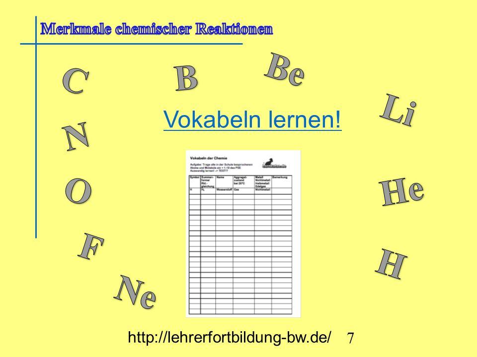Be B C Li N O He F H Ne Vokabeln lernen!