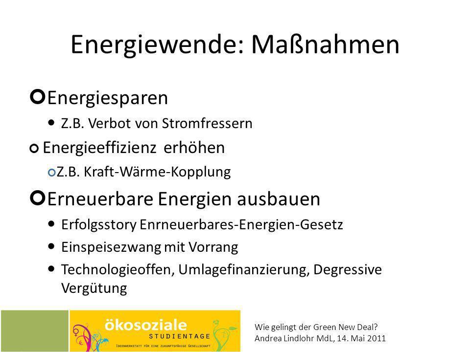 Energiewende: Maßnahmen