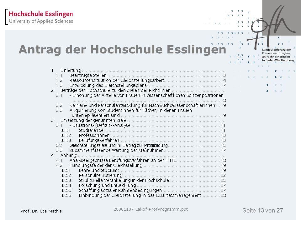Antrag der Hochschule Esslingen