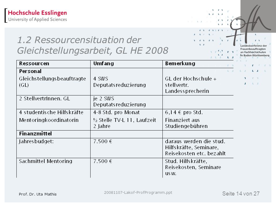 1.2 Ressourcensituation der Gleichstellungsarbeit, GL HE 2008