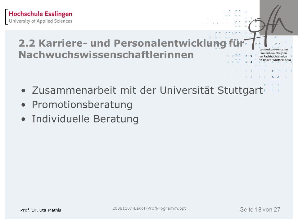 Zusammenarbeit mit der Universität Stuttgart Promotionsberatung
