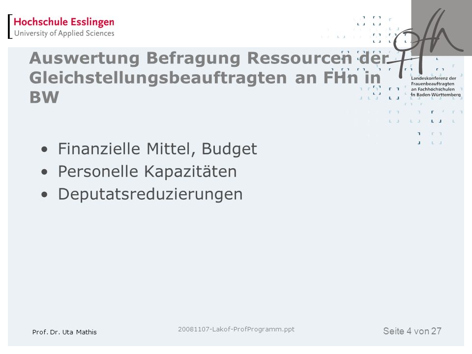 Auswertung Befragung Ressourcen der Gleichstellungsbeauftragten an FHn in BW