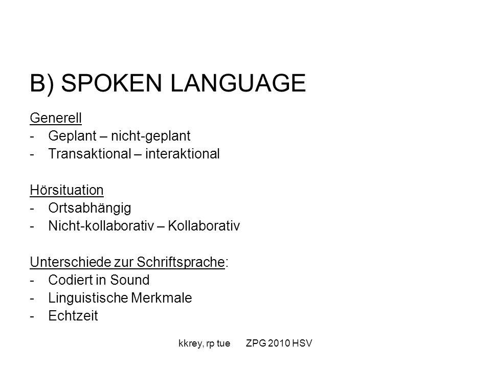 B) SPOKEN LANGUAGE Generell Geplant – nicht-geplant