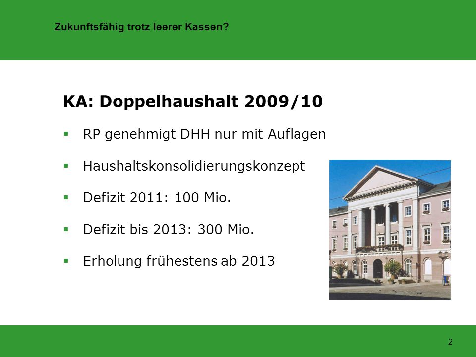 KA: Doppelhaushalt 2009/10 RP genehmigt DHH nur mit Auflagen