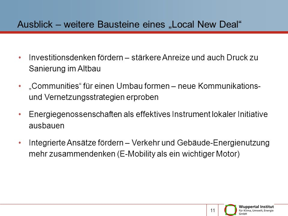 """Ausblick – weitere Bausteine eines """"Local New Deal"""
