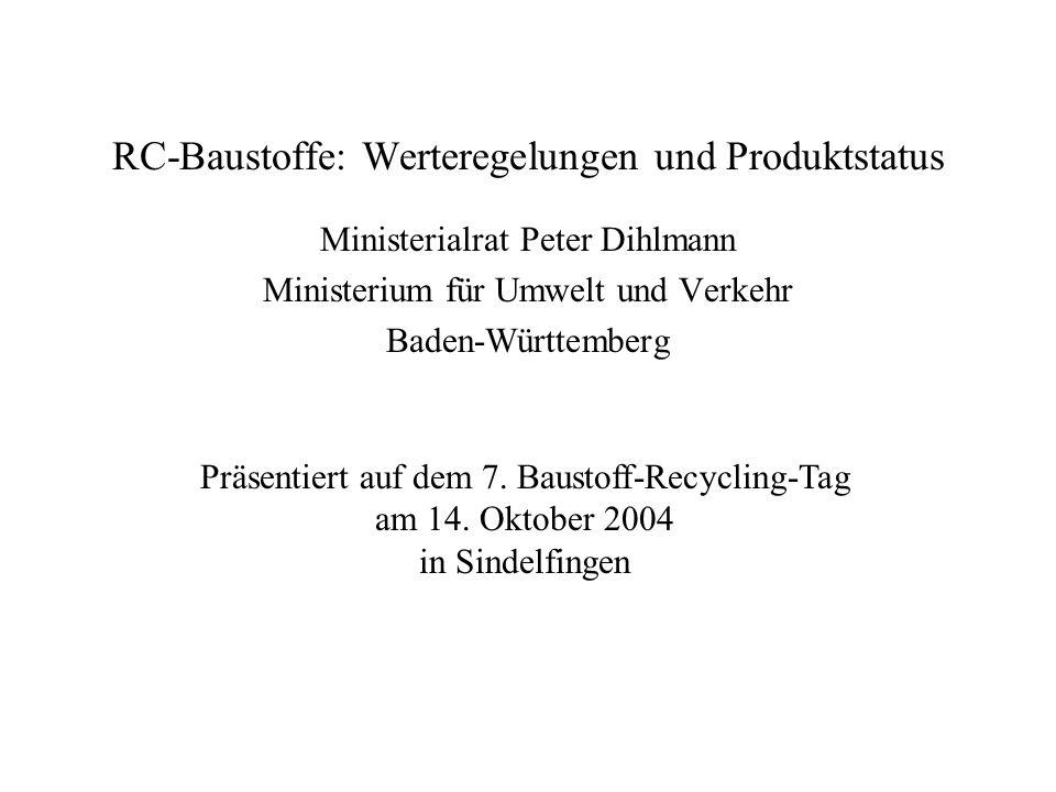 RC-Baustoffe: Werteregelungen und Produktstatus