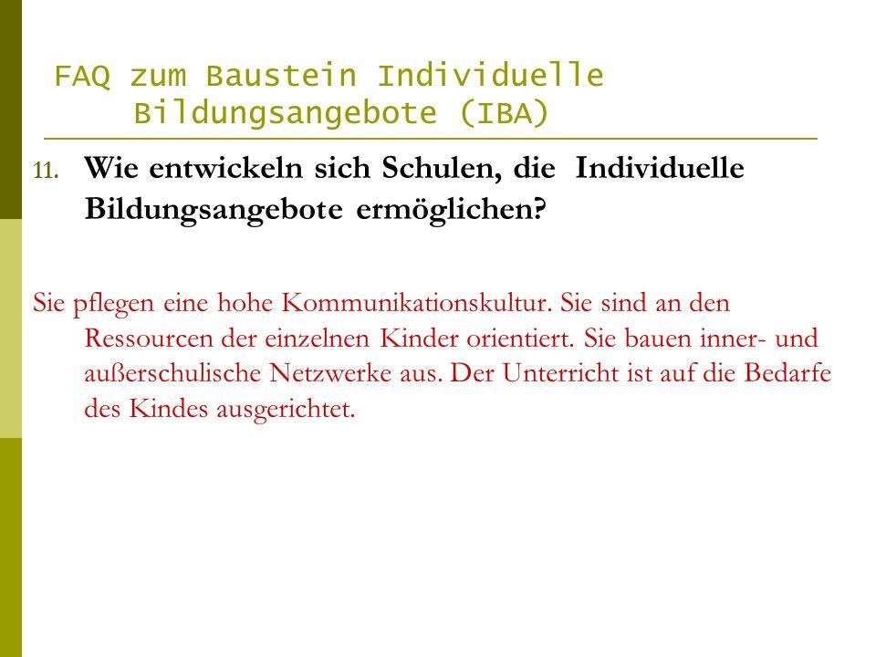 FAQ zum Baustein Individuelle Bildungsangebote (IBA)