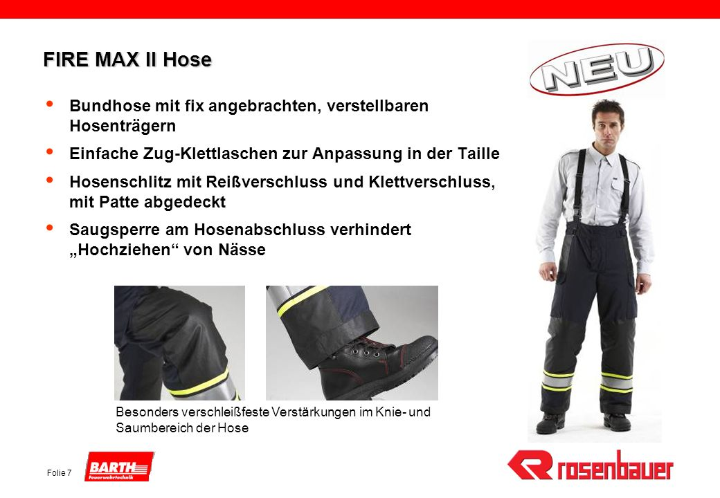 FIRE MAX II Hose Bundhose mit fix angebrachten, verstellbaren Hosenträgern. Einfache Zug-Klettlaschen zur Anpassung in der Taille.