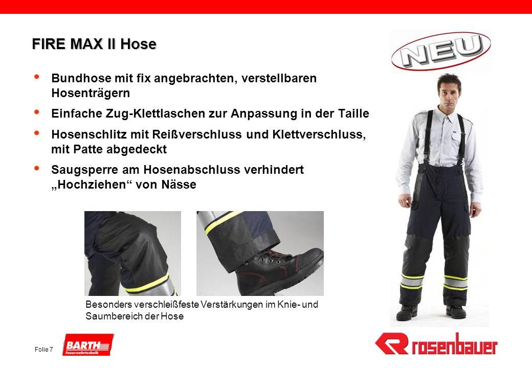 FIRE MAX II HoseBundhose mit fix angebrachten, verstellbaren Hosenträgern. Einfache Zug-Klettlaschen zur Anpassung in der Taille.