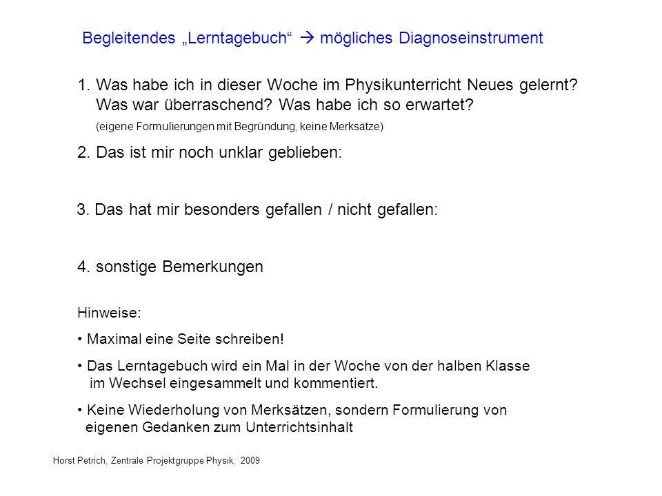 """Begleitendes """"Lerntagebuch  mögliches Diagnoseinstrument"""