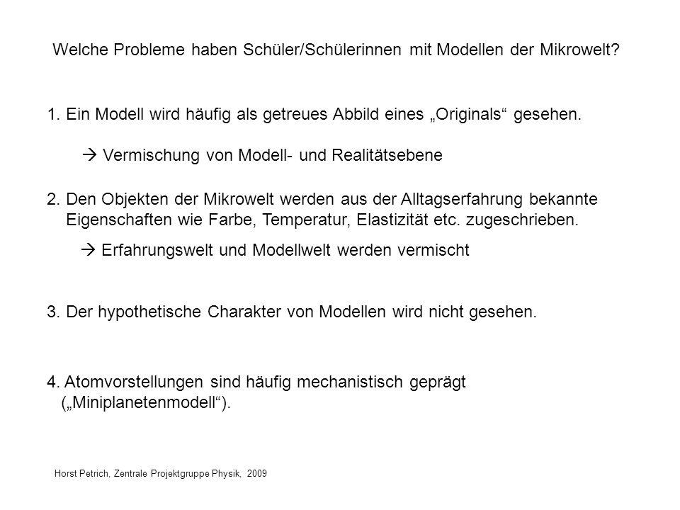 Welche Probleme haben Schüler/Schülerinnen mit Modellen der Mikrowelt