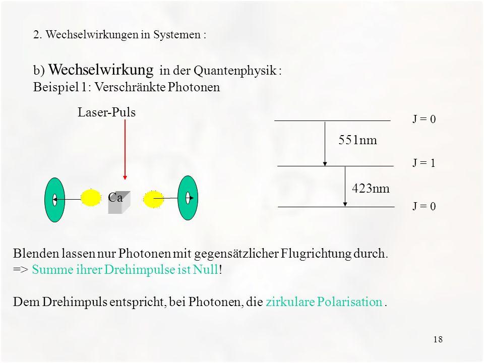b) Wechselwirkung in der Quantenphysik :