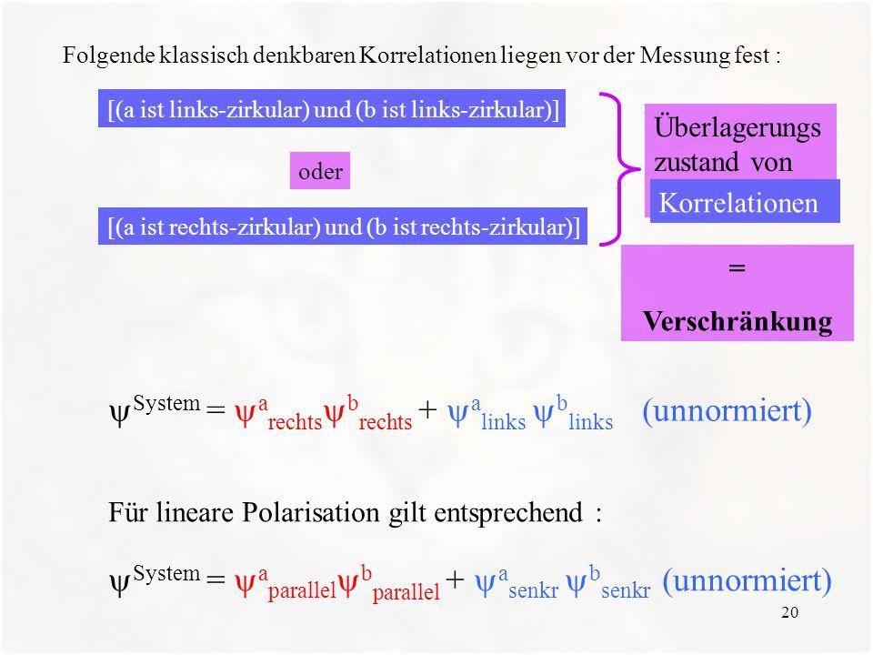 System = arechtsbrechts + alinks blinks (unnormiert)