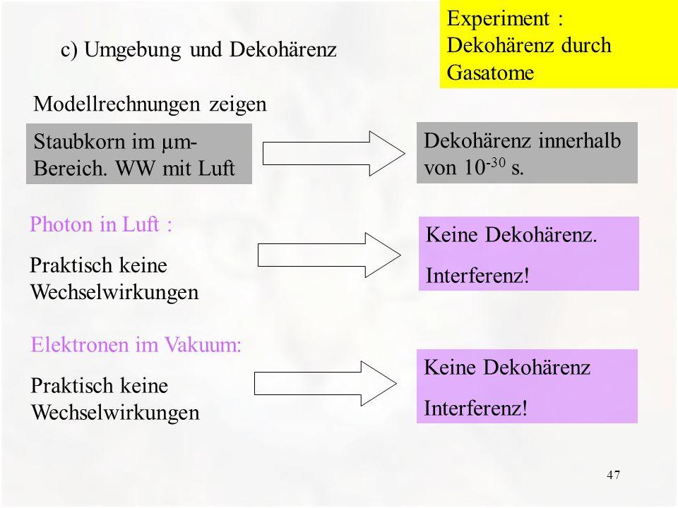 Experiment : Dekohärenz durch Gasatome c) Umgebung und Dekohärenz