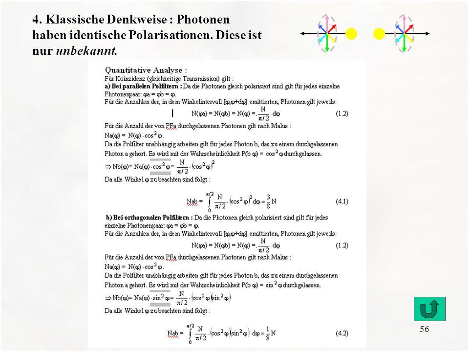 4. Klassische Denkweise : Photonen haben identische Polarisationen