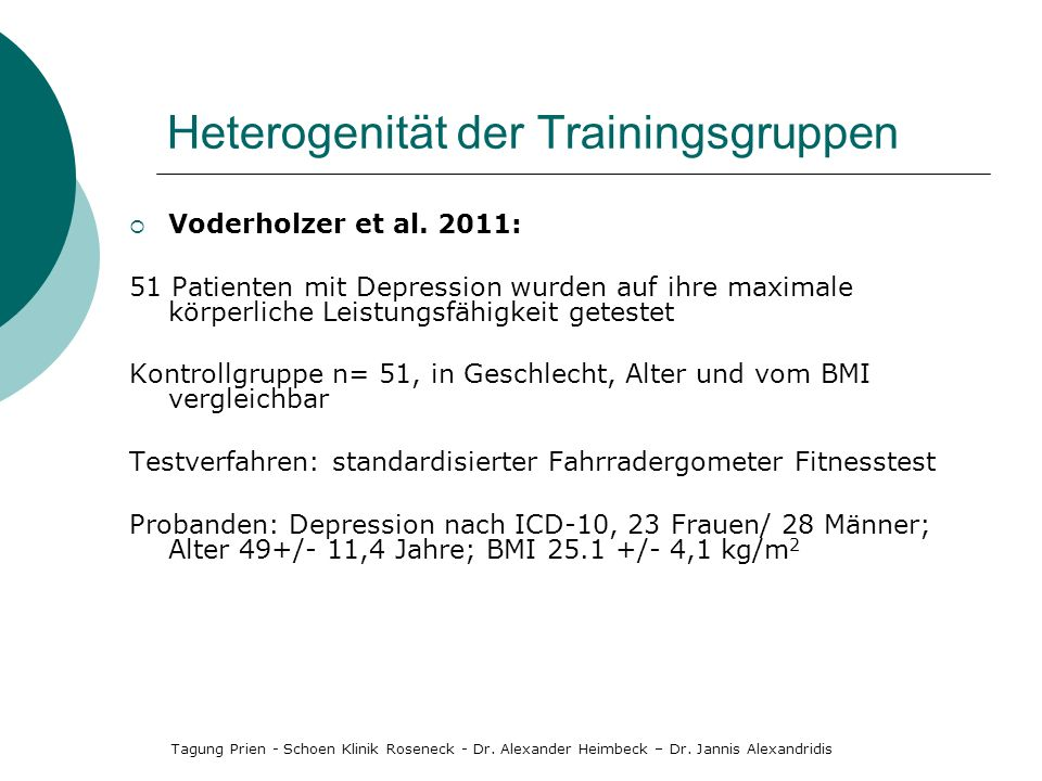 Heterogenität der Trainingsgruppen