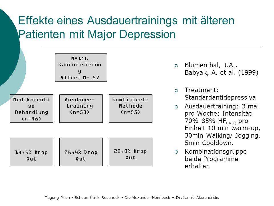 Effekte eines Ausdauertrainings mit älteren Patienten mit Major Depression